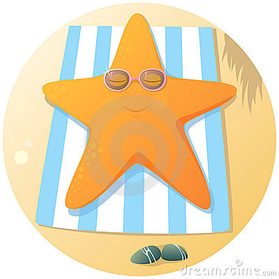 Cute starfish sunbathing