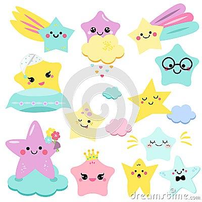 Cute stars vector illustration for kids. isolated design children. baby shower stars, design elements in kawaii style Vector Illustration