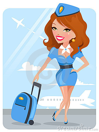 Cute Stewardess Vector Illustration