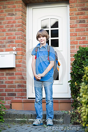 Free Cute Student Boy On His Way To First Day At School Stock Image - 41364661