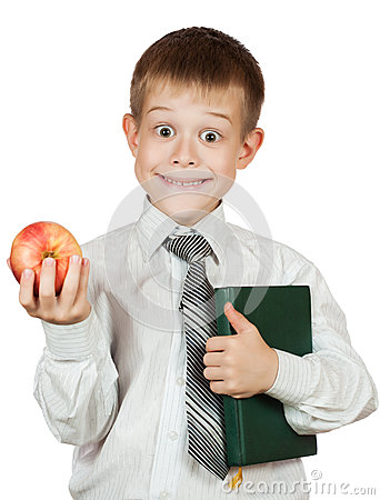 Cute student is holding book and apple. isolated