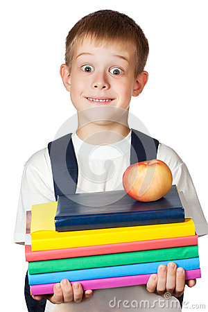 Cute student is holding books and apple. isolated