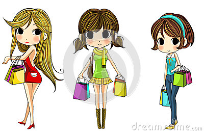 Cute stylish cartoon girls in shopping set