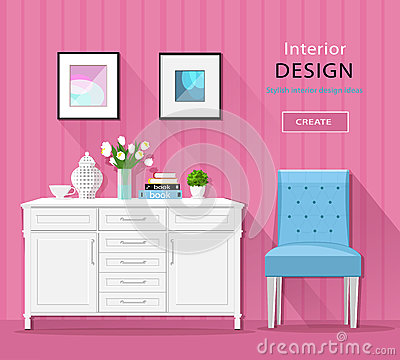 Cute stylish room interior furniture: commode, chair, pictures with long shadows. Flat style. Vector Illustration
