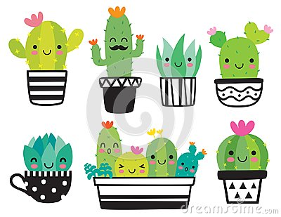 Cute Succulent or Cactus Vector Illustration Vector Illustration