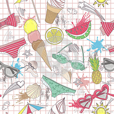 Cute summer abstract pattern. Seamless pattern wit