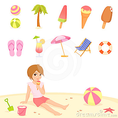 Cute summer and beach theme illustrations