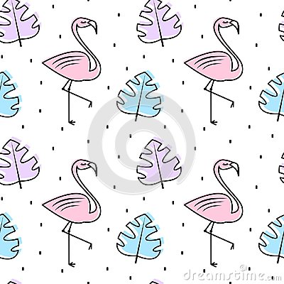 Free Cute Summer Colorful Seamless Vector Pattern Background Illustration With Exotic Leaves And Flamingos Royalty Free Stock Photo - 119353045