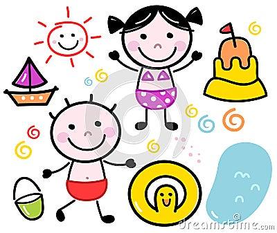 Cute summer doodle kids set
