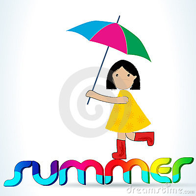 Cute summer girl with umbrella