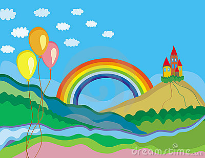 Cute summer landscape with rainbow