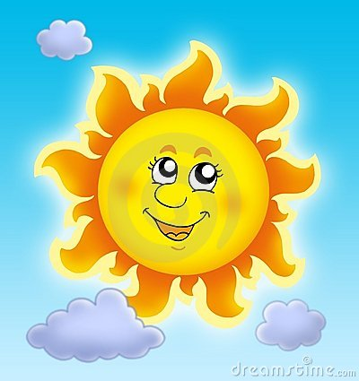Cute summer Sun on blue sky