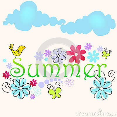 Cute summer text illustration with bird