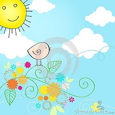 Cute summer text illustration with bird