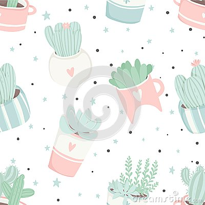 Free Cute Summer Theme Seamless Pattern With Cacti Royalty Free Stock Photos - 117107088