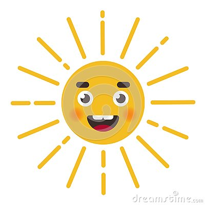 Cute sun character. character face with rays. Cartoon Illustration