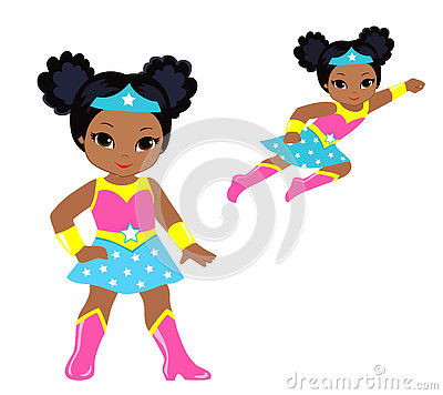 Free Cute Superhero Girl Vector Clip Art Set. Stock Photo - 73344080
