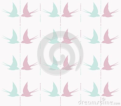 Cute swallow seamless pattern