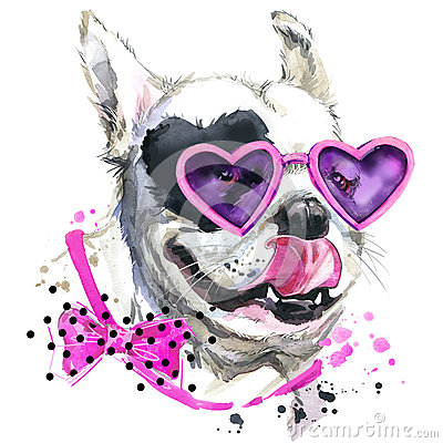 Free Cute Sweet Dog T-shirt Graphics. Funny Dog Illustration With Splash Watercolor Textured  Background. Royalty Free Stock Images - 61907629