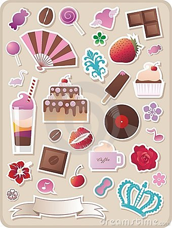 Free Cute Sweet Stickers Royalty Free Stock Image - 8123326