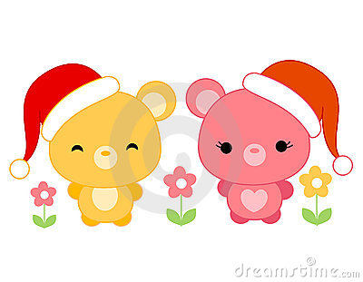 Cute teddies wearing santa hat