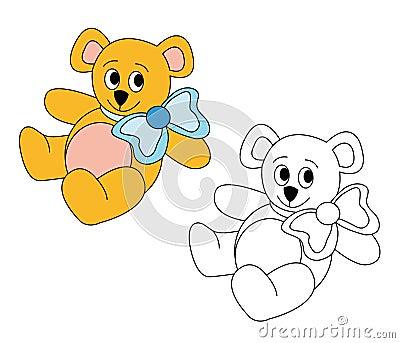 Cute teddy bear with blue bow
