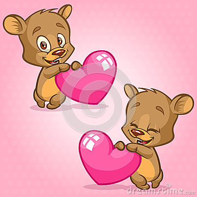 Free Cute Teddy Bear Holding Red Heart. Vector Illustration For St Valentine S Day. Bear Emotion Set Stock Photography - 64931982
