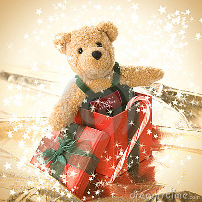 Free Cute Teddy Bear In Gift Box Royalty Free Stock Images - 7290529