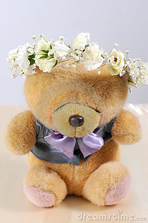 Cute teddy bear at isolated white