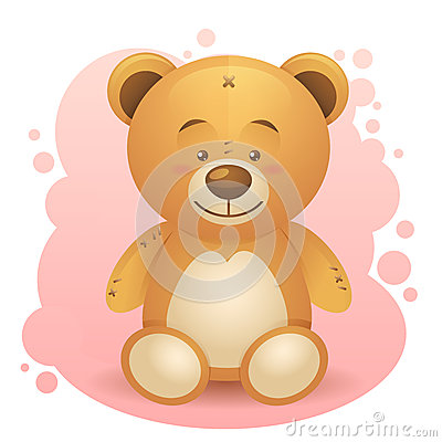Cute teddy bear realistic drawing isolated