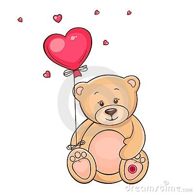 Cute teddy bear with red balloon