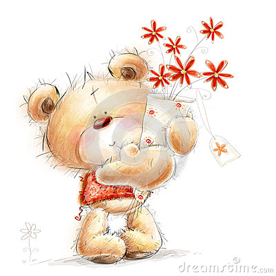 Free Cute Teddy Bear With The Red Flowers. Background W Stock Images - 36687184
