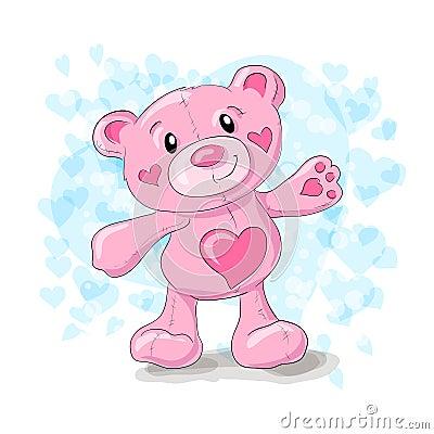 Cute teddy with hearts cartoon. Vector Illustration