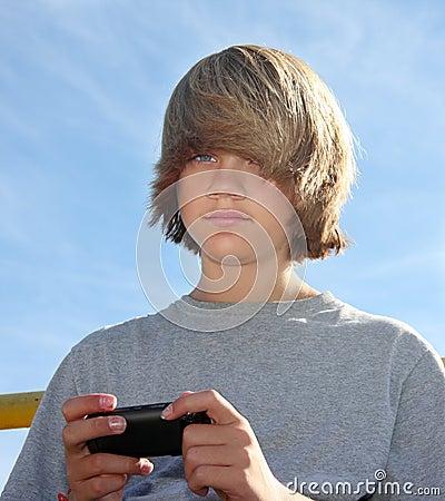 Cute Teen Boy Texting