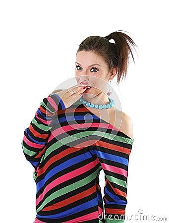 Cute teen girl making a wondering gesture