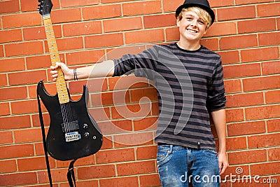 Cute teen musician