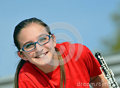 Cute Teen with an Oboe