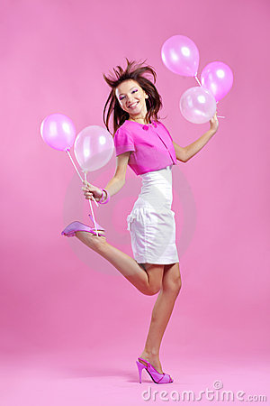 Cute teenage girl with balloons