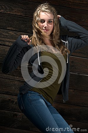 A cute teenage girl dancing