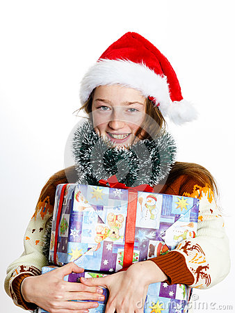 Free Cute Teenage Girl In Santa Red Hat With Gift Box Royalty Free Stock Photography - 62573297