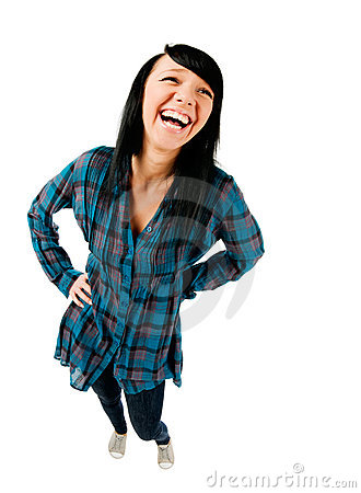 Cute teenage girl laughing