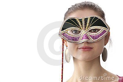 Cute teenage girl with a Venitian carnival mask