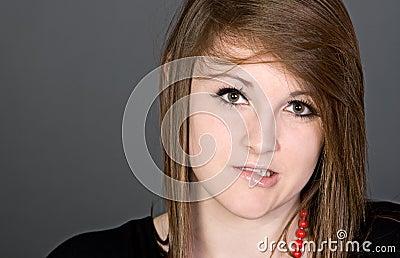 Cute Teenager Biting her Lip