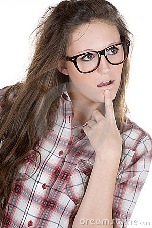 Cute Teenager Geek against White