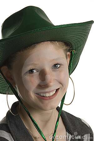 Cute teenager with green cowboy hat