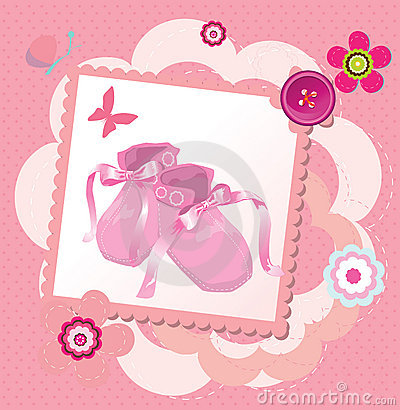 Cute template for baby s arrival