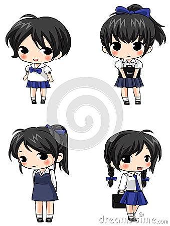 Cute Thai schoolgirl sprite icons