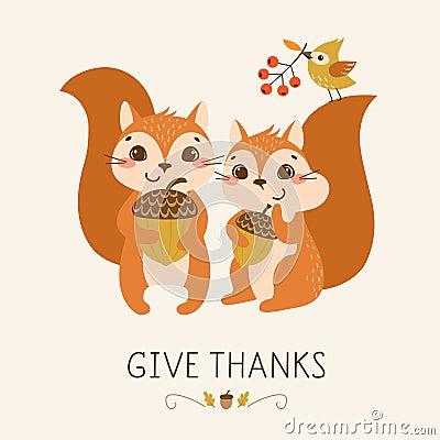 Cute Thanksgiving squirrels Vector Illustration