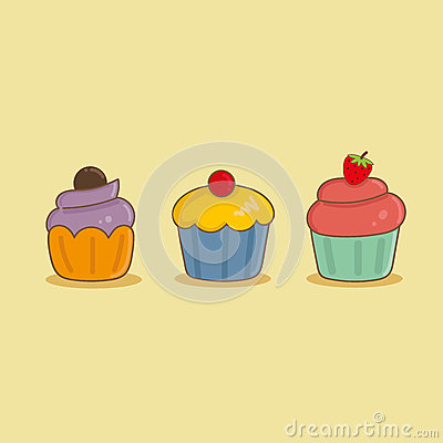 Cute three cupcake Stock Photo