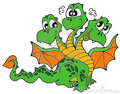 Cute three headed dragon